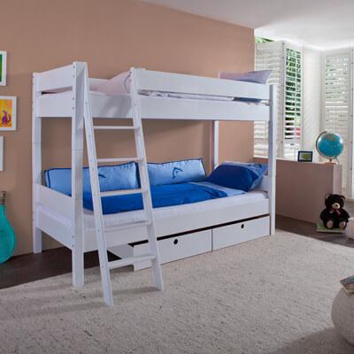 Stapelbed wit stefan kopen m showroom kidsroom - Stapelbed met opslag trappen ...