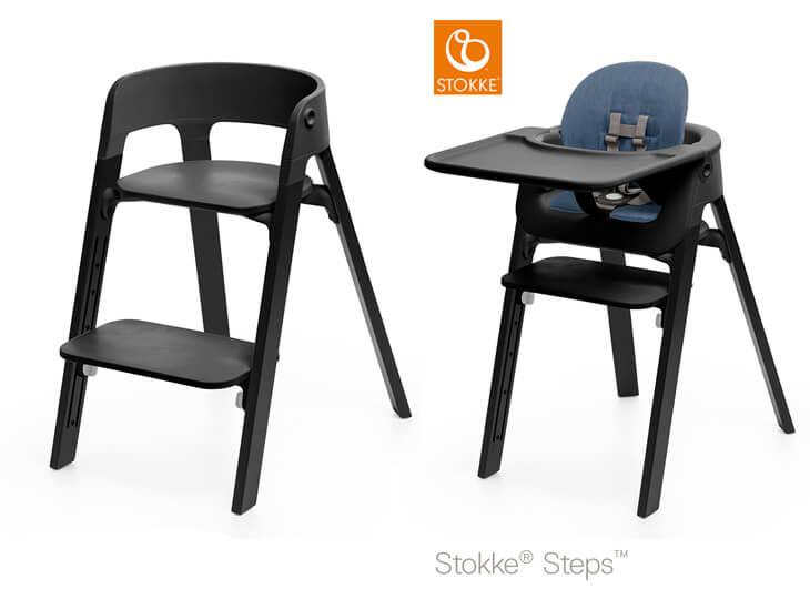 Stokke® Steps™ Black poten en Black eetblad