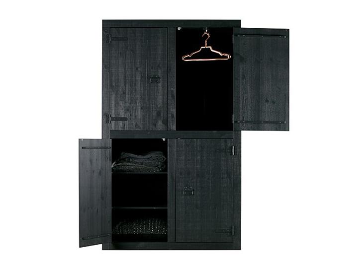 Bunk 4-deurkast Zwart
