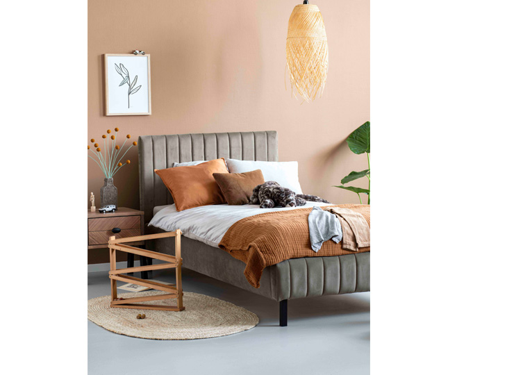 Gestoffeerd Bed Luno Taupe